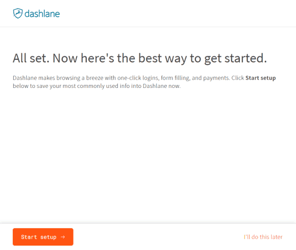 dashlane setup screen
