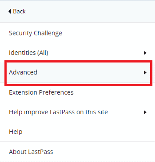 lastpass click advanced to access import database