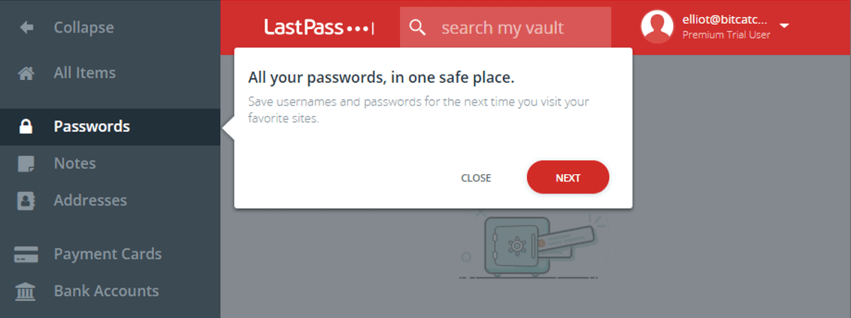 lastpass provides vault tour for new users