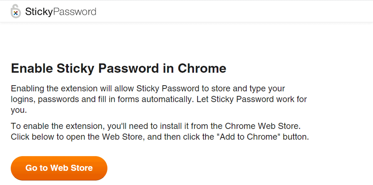 sticky password prompts to install chrome browser extension