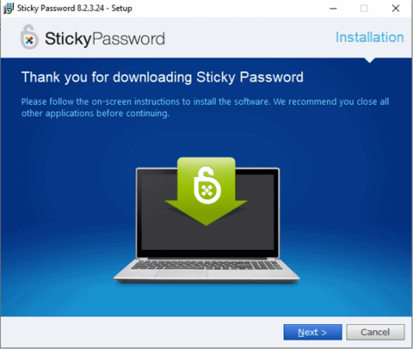 sticky password step by step installation