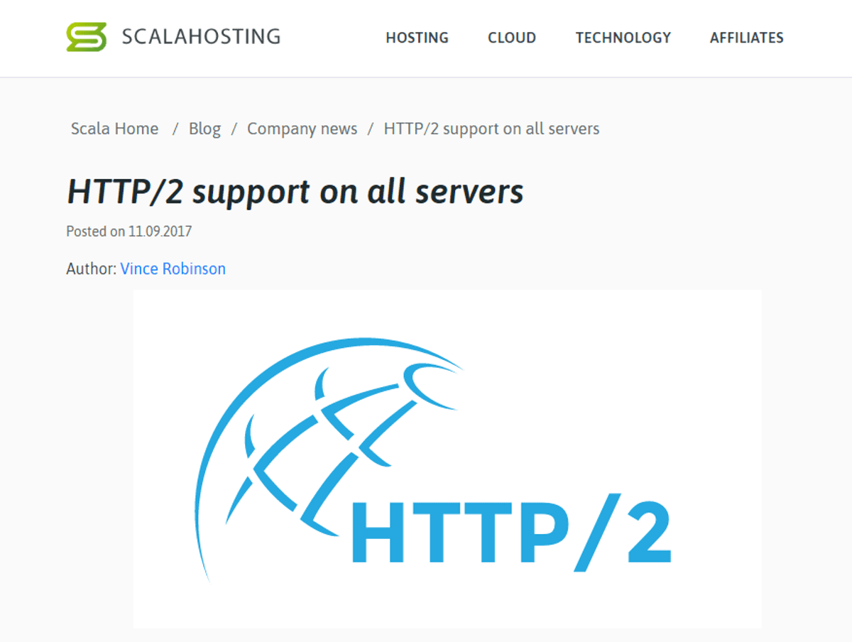 scalahosting provides http2 on all plans