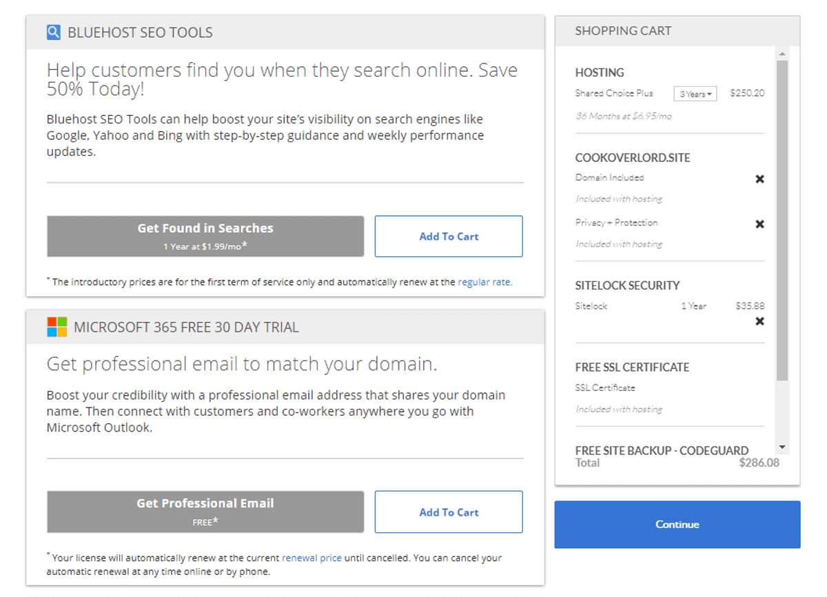 be wary of addons when purchasing hosting plans at bluehost
