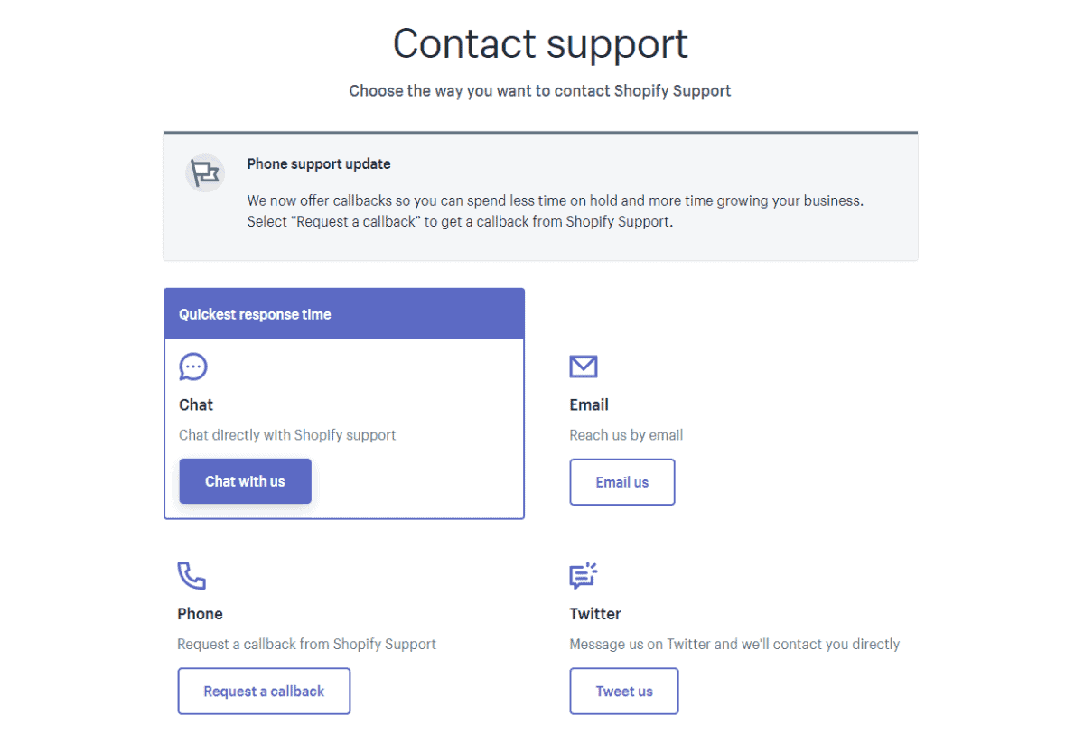 shopify has 24/7 support for live chat phone email