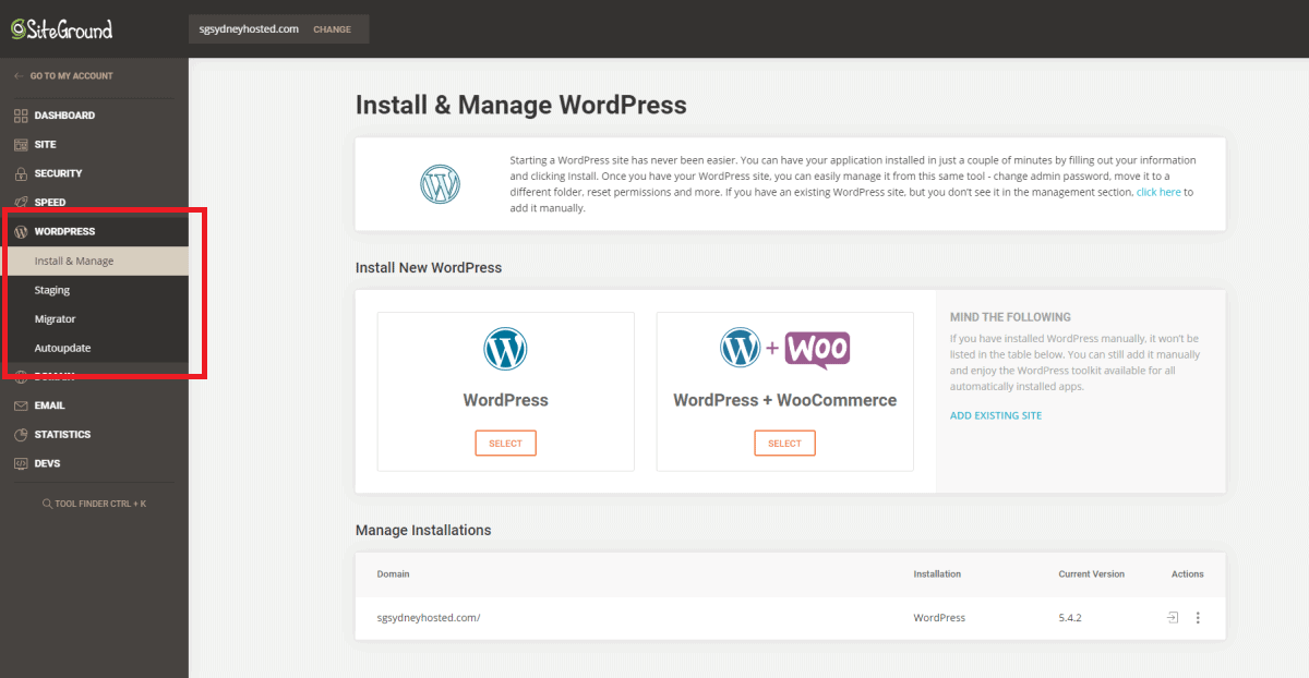 siteground site tool made wordpress installation easy