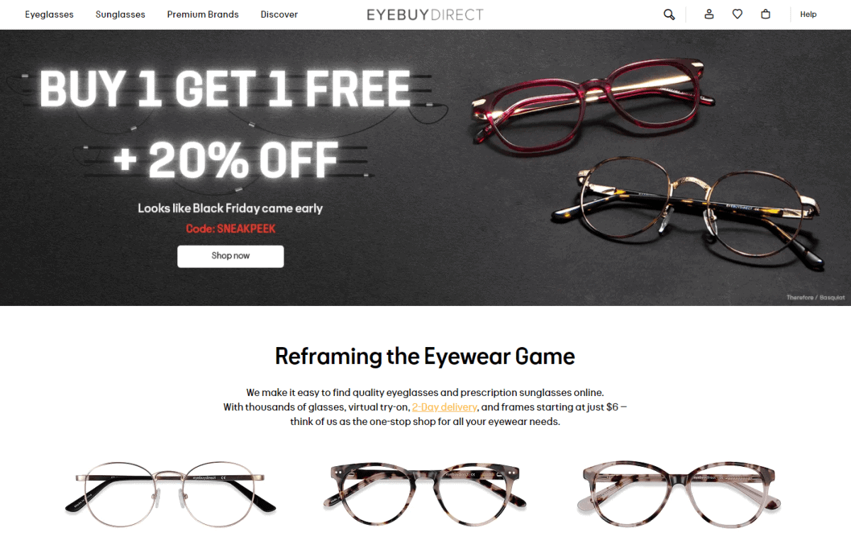 eyebuydirect buy one free one 25% off