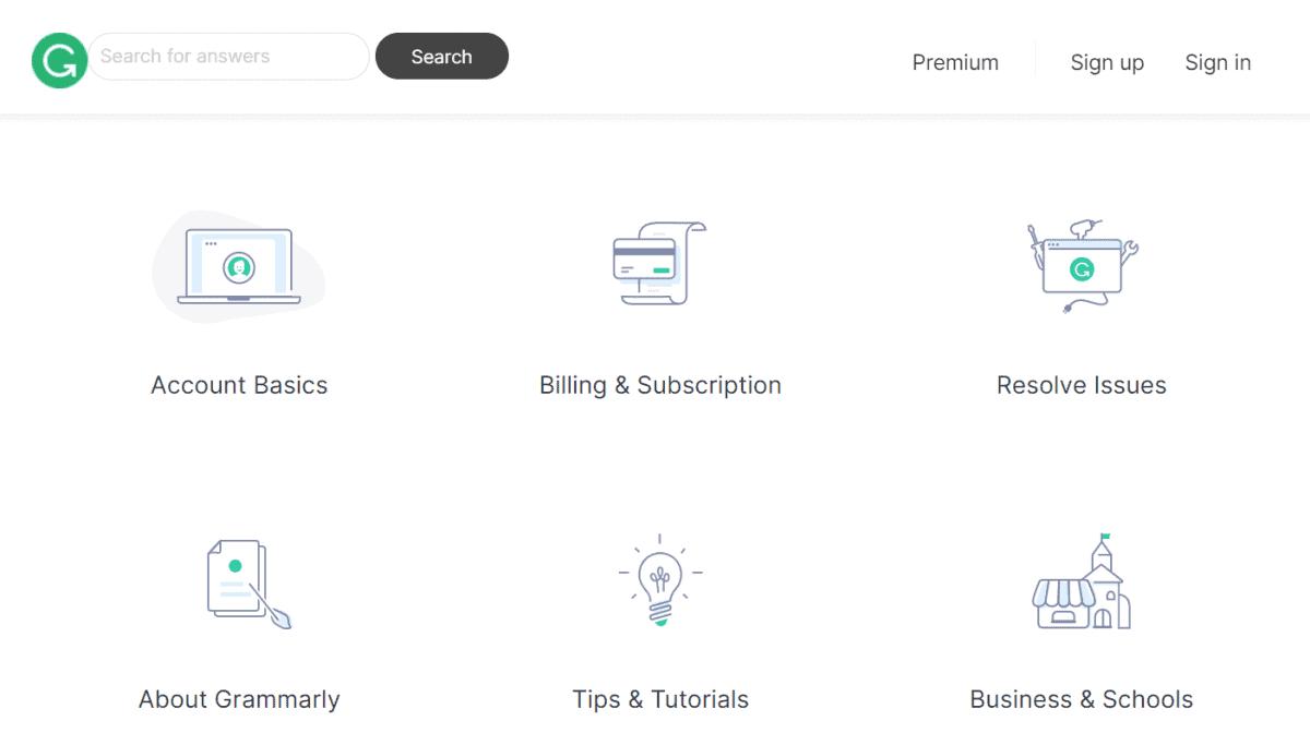 grammarly website has extensive knowledgebase