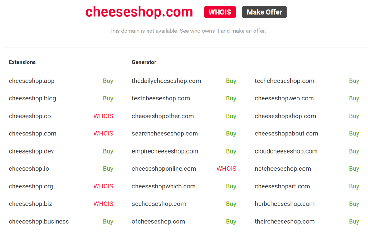nameboy generate name ideas with keyword cheese shop