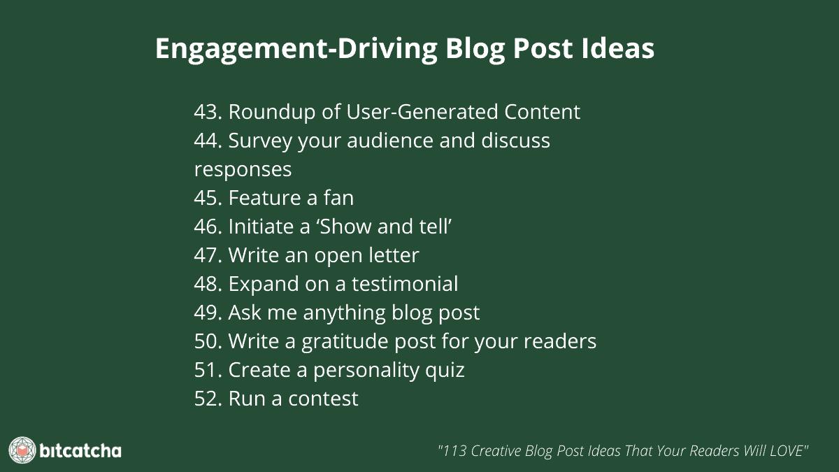 list of 10 engagement driving blog post ideas