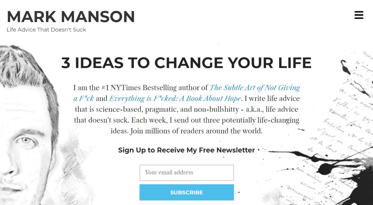 mark manson personal blog