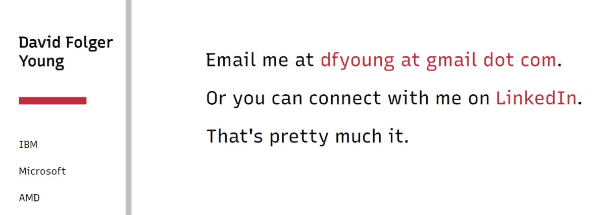 david folgery young contact page