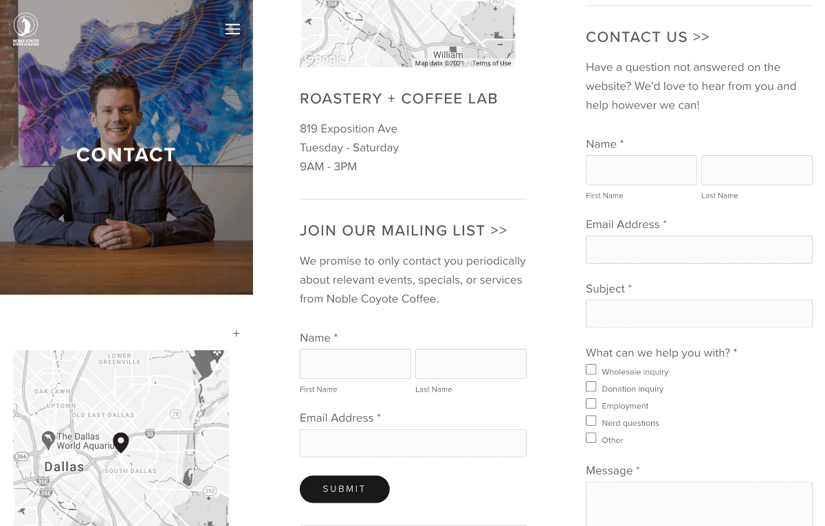 noble coyote coffee contact page on mobile