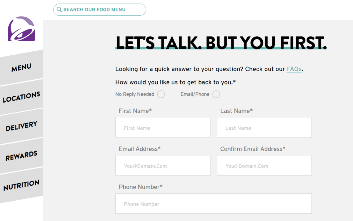 taco bell contact page
