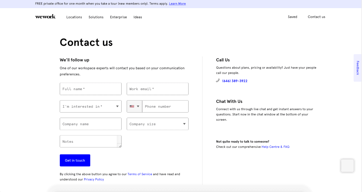 wework contact page