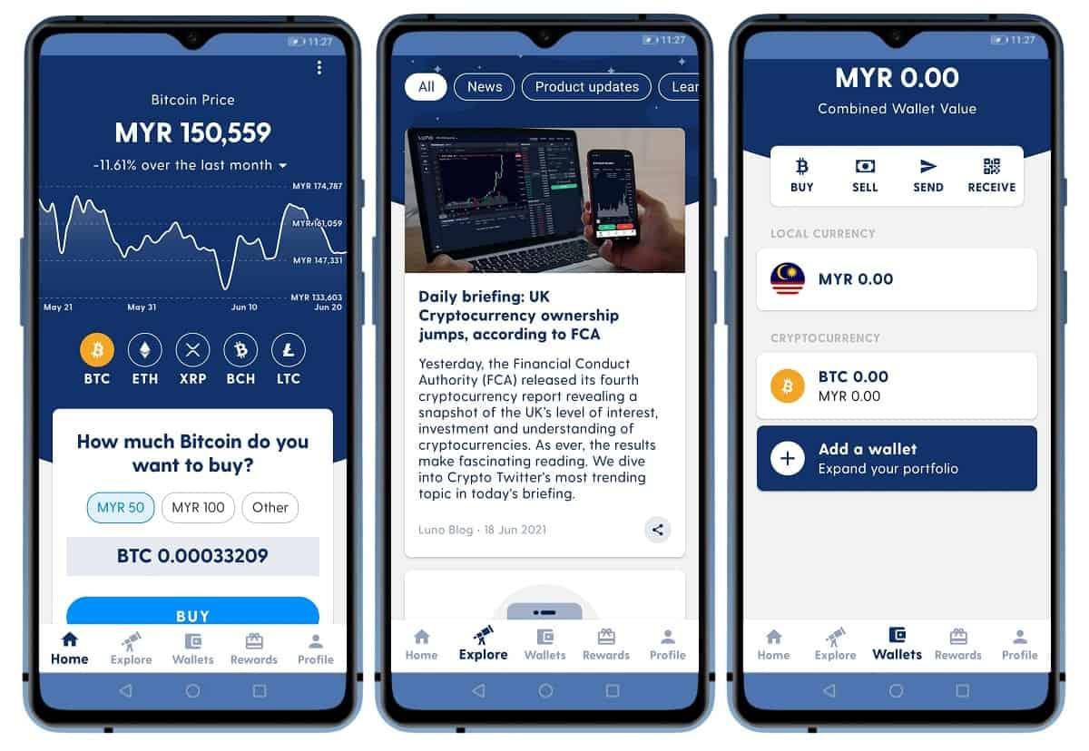 luno wallet mobile app interface