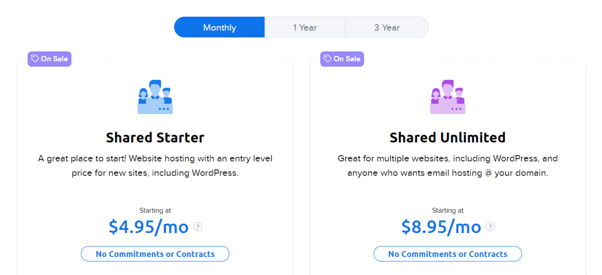 dreamhost offers monthly plans for web hosting