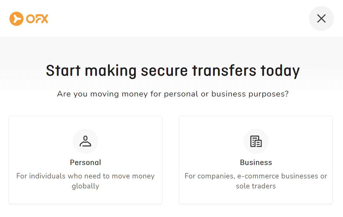 ofx lets you create a personal or business account