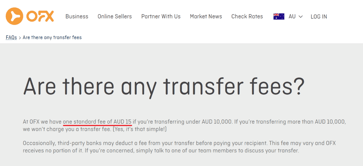 ofc charges a standard fee of AUD 15 if transferring under AUD 10000